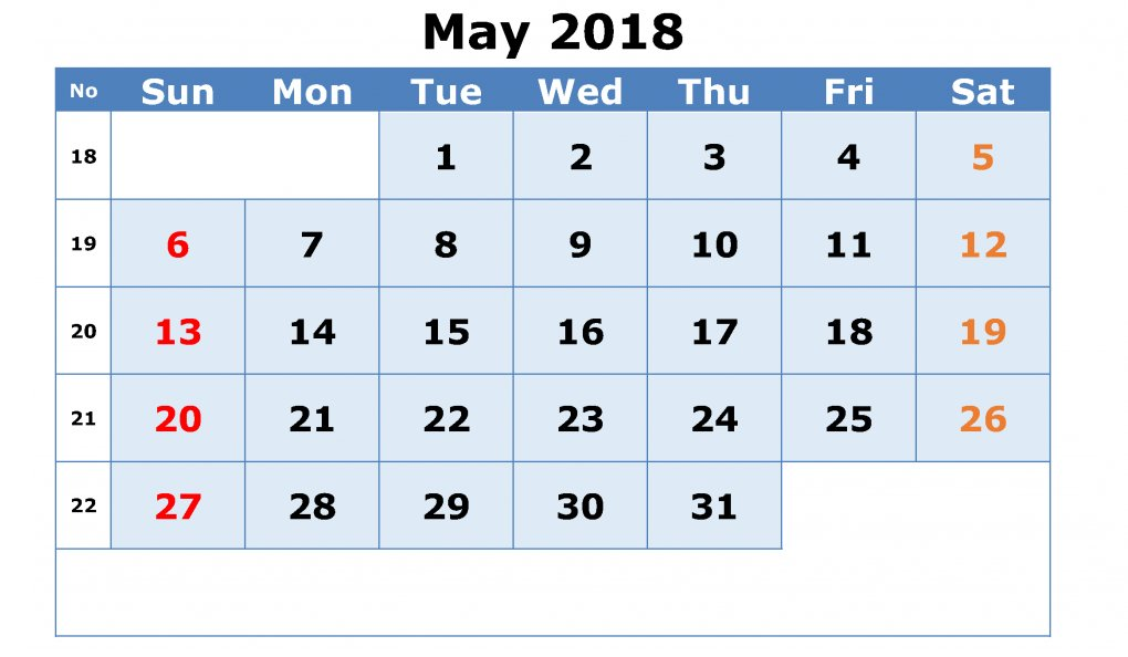 May 2018 Vertical Calendar Template