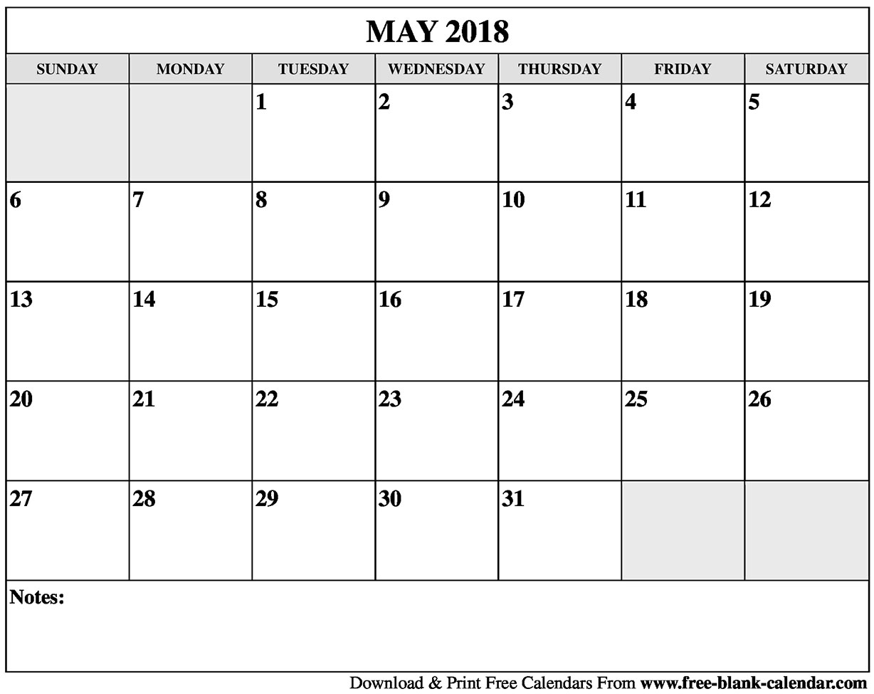 May 2018 Vertical Calendar