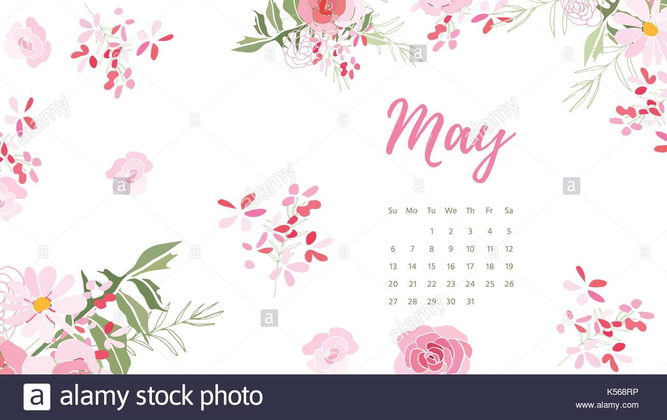 May 2018 Vintage Floral Calendar Pink