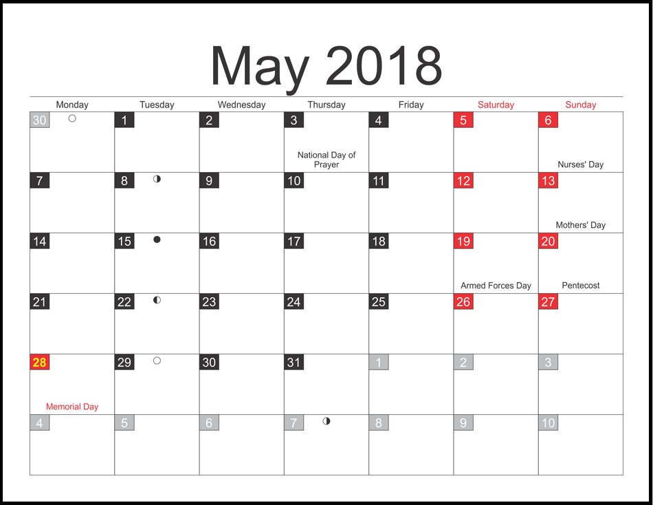 May 2018 with Moon Phases Calendar