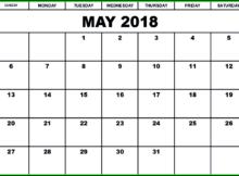 May Blank 2018 Calendar PDF