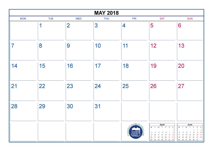 May Calendar 2018 Cute