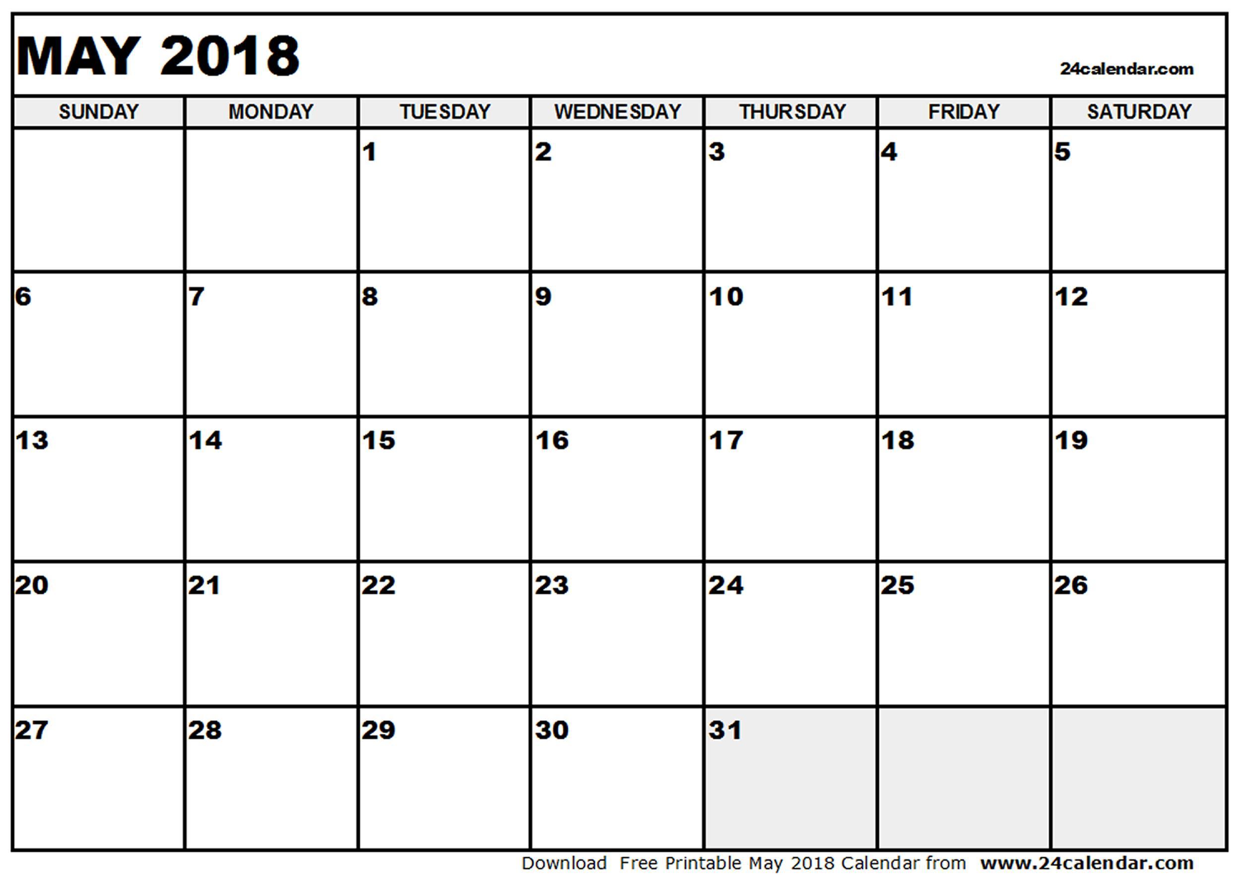 May Calendar 2018 Excel