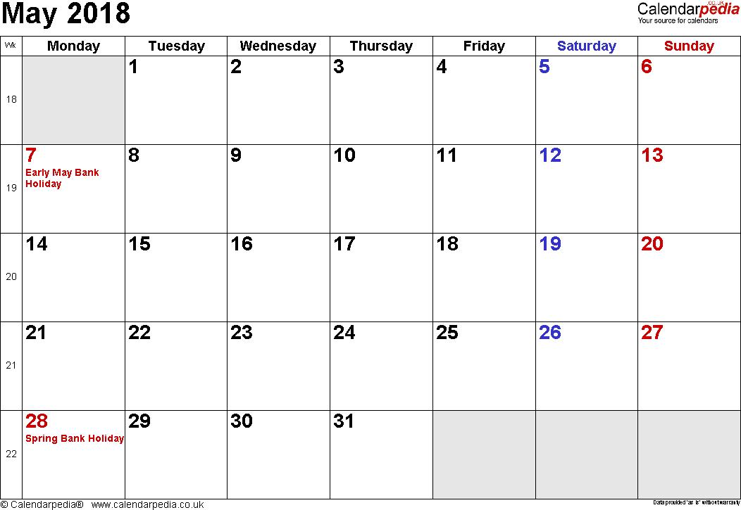 May Calendar 2018 Landscape