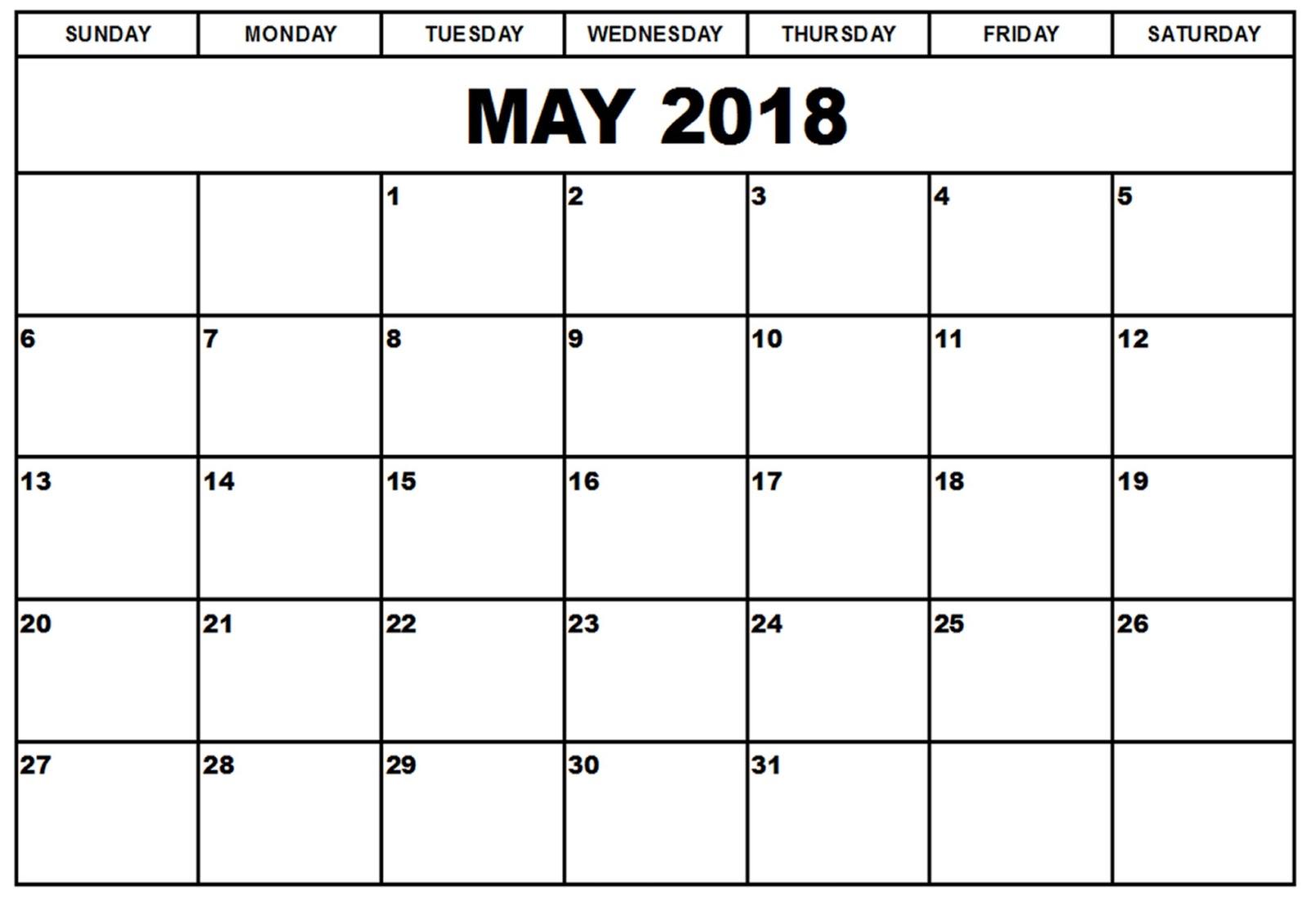 May Calendar 2018 PDF