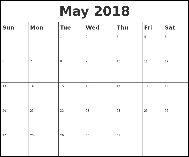 May Calendar 2018 South Africa