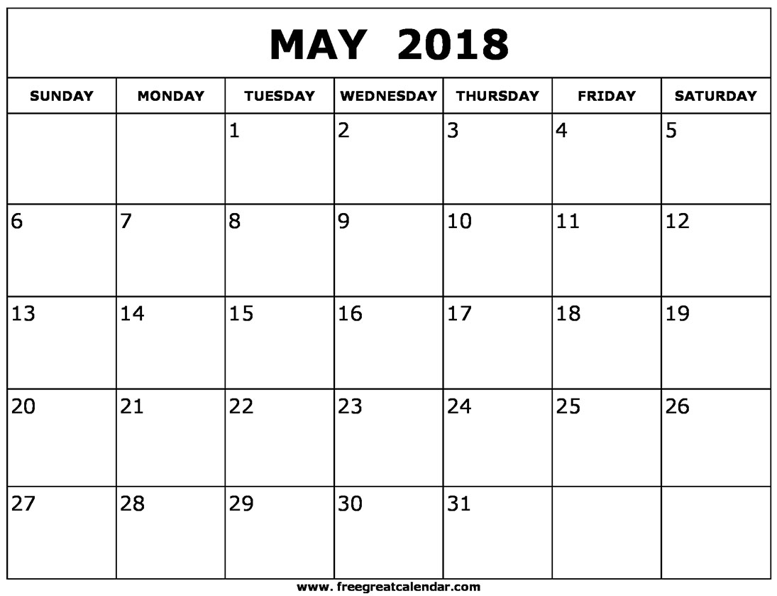 May Calendar 2018 Template Word