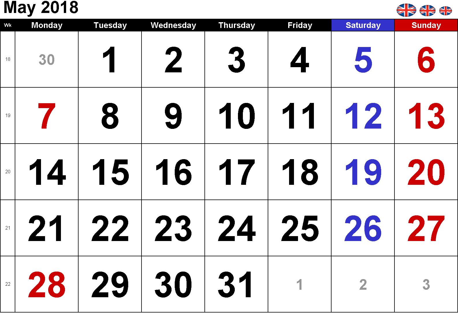 May Calendar 2018 UK