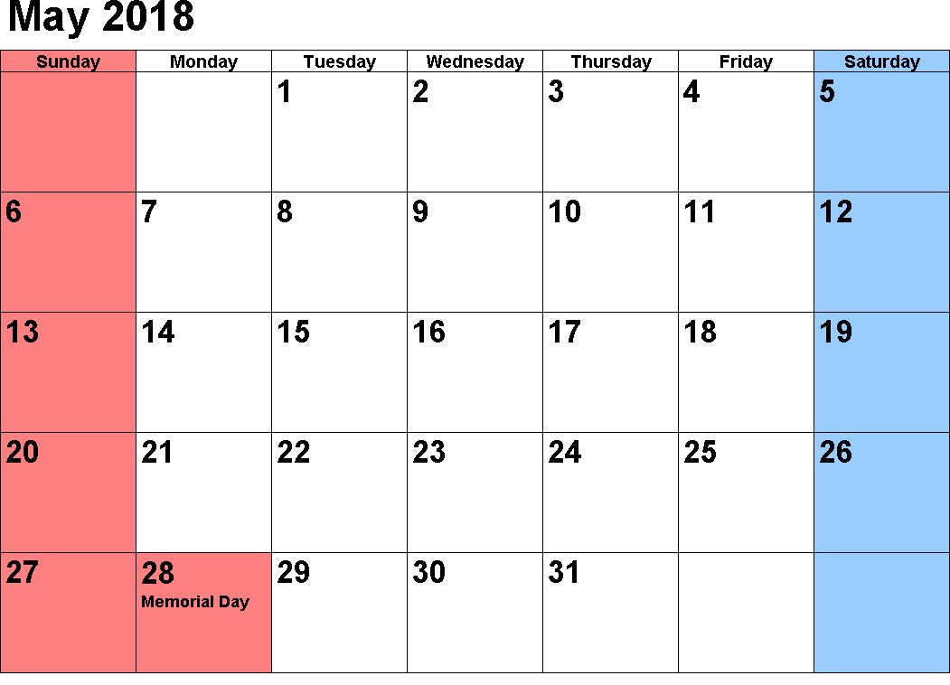 May Calendar 2018 Word