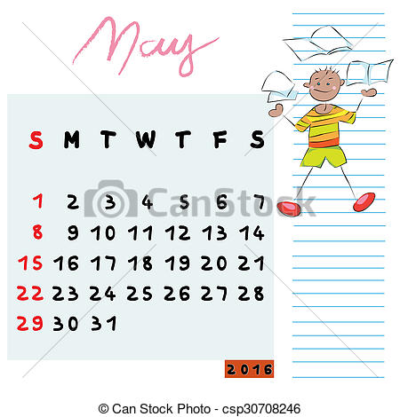 May Calendar Clipart