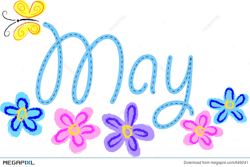 May Colorful Flower Clipart