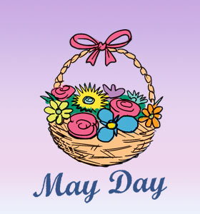 May Day Flowers In Basket Clipart