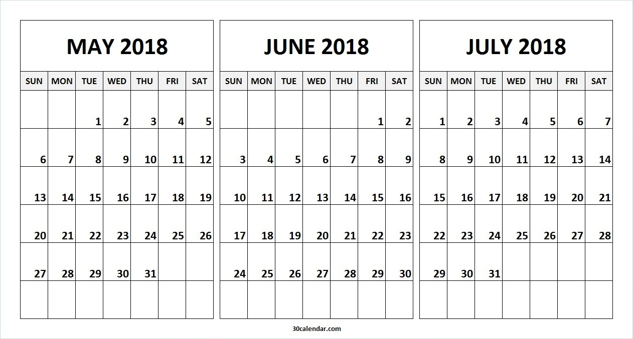 May June July 2018 Calendar