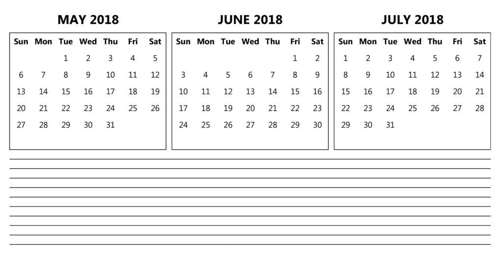 May June July 2018  Printable Calendar Template
