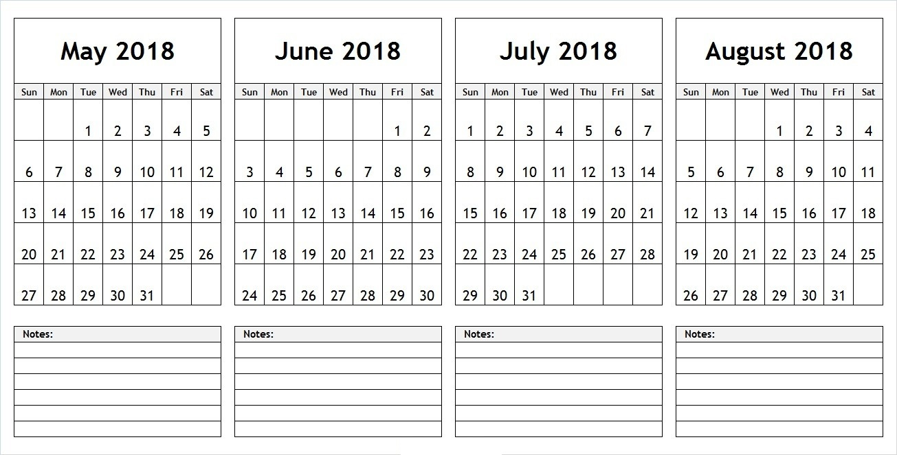 May June July August 2018 3 Month Calendar