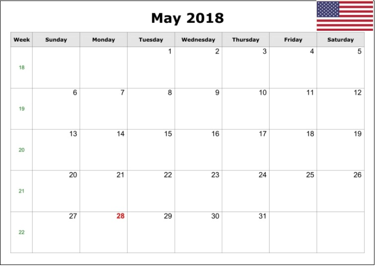 May Month 2018 Holiday Calendar