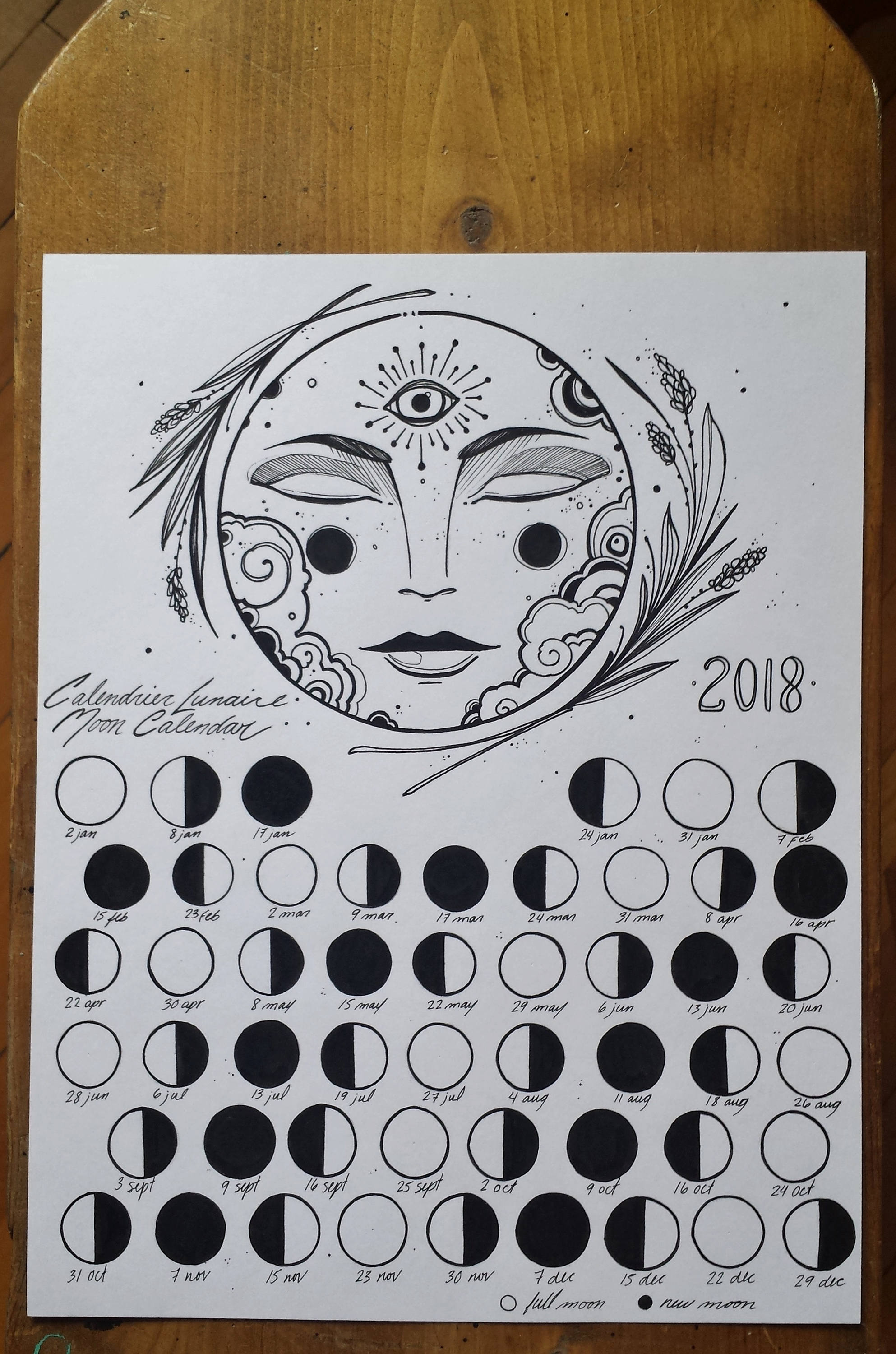 May Moon time Calendar 2018
