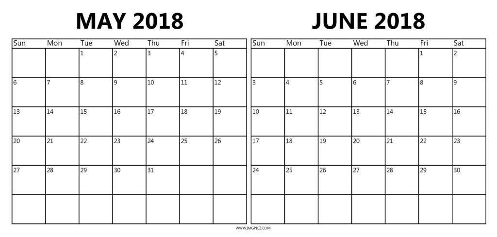 May And June 2018 Calendar Printable