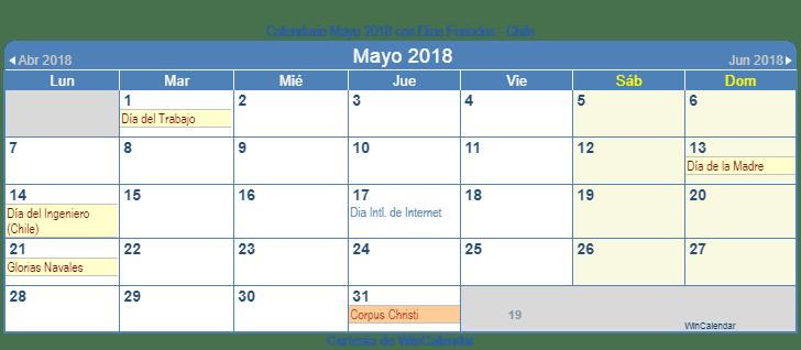Mayo 2018 Calendario En Chile