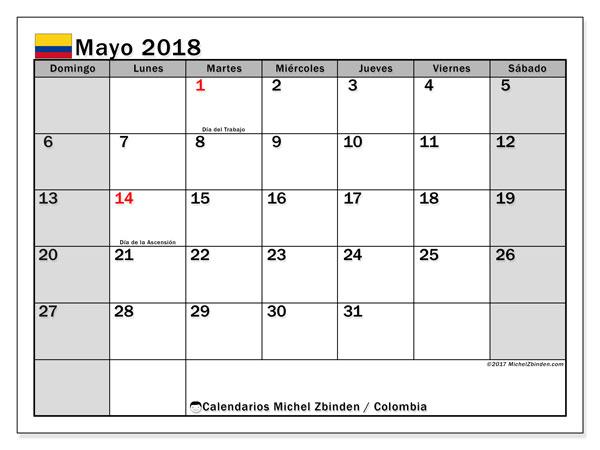 Mayo 2018 Calendario