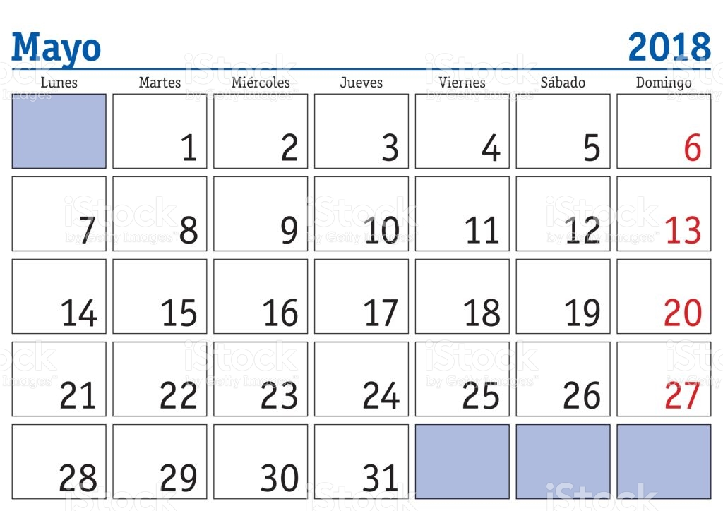 Mayo 2018 Wall Calendario Spanish