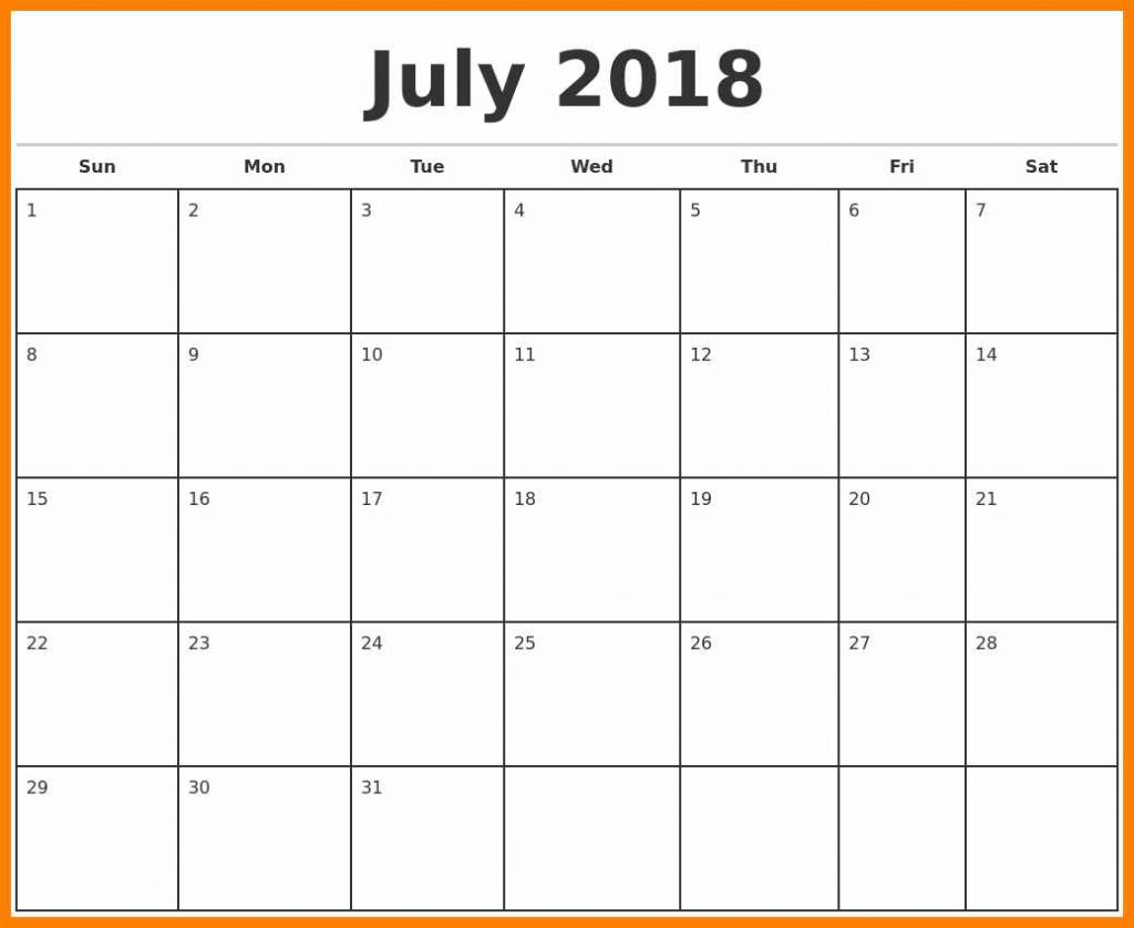 Monthly Blank Calendar 2018 July