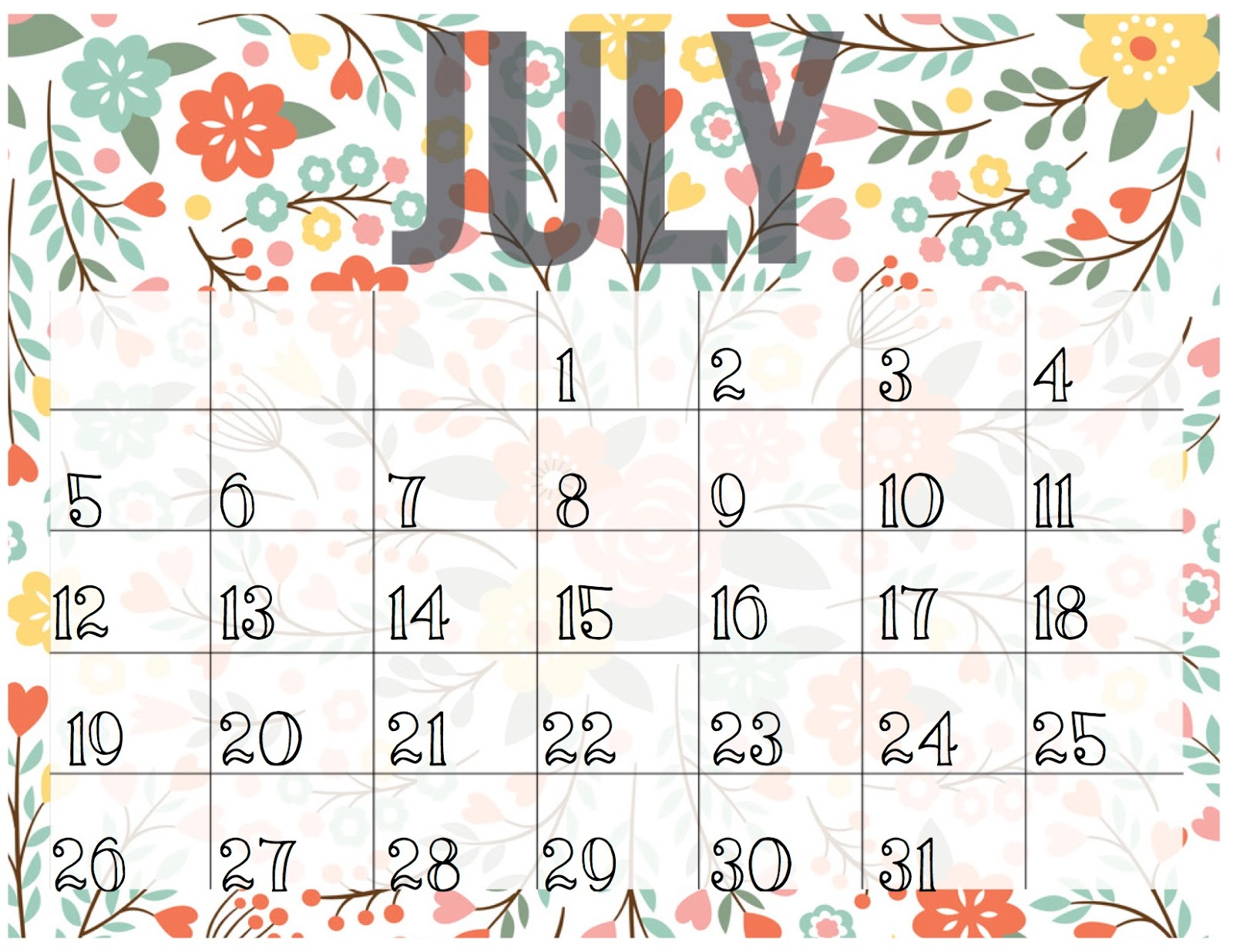 Monthly Blank Calendar July 2018 For Kids