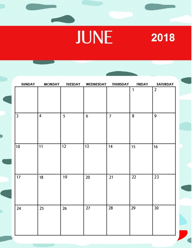 Monthly Calendar 2018 June Month