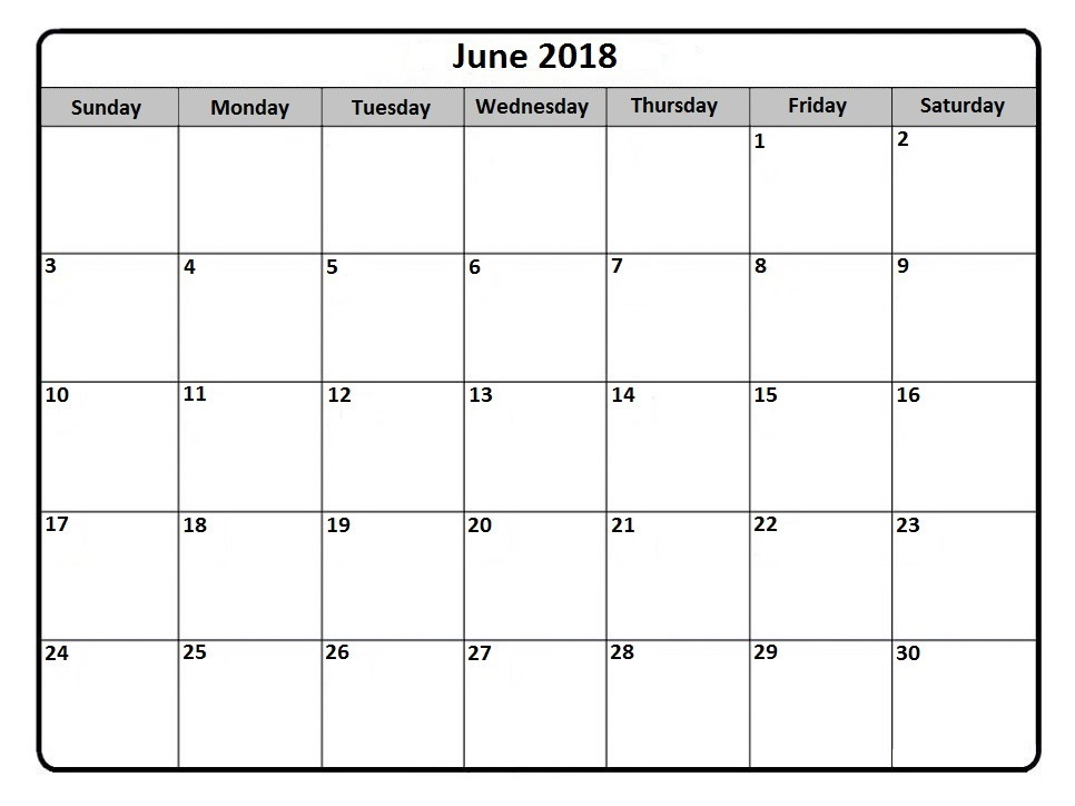 Monthly Calendar June 2018 Landscape