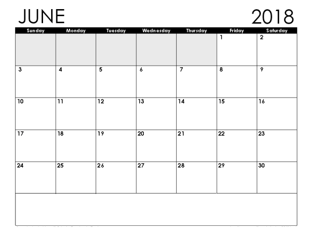 Monthly June 2018 Calendar Document