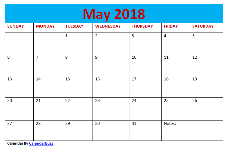 Monthly May 2018 Blank Calendar