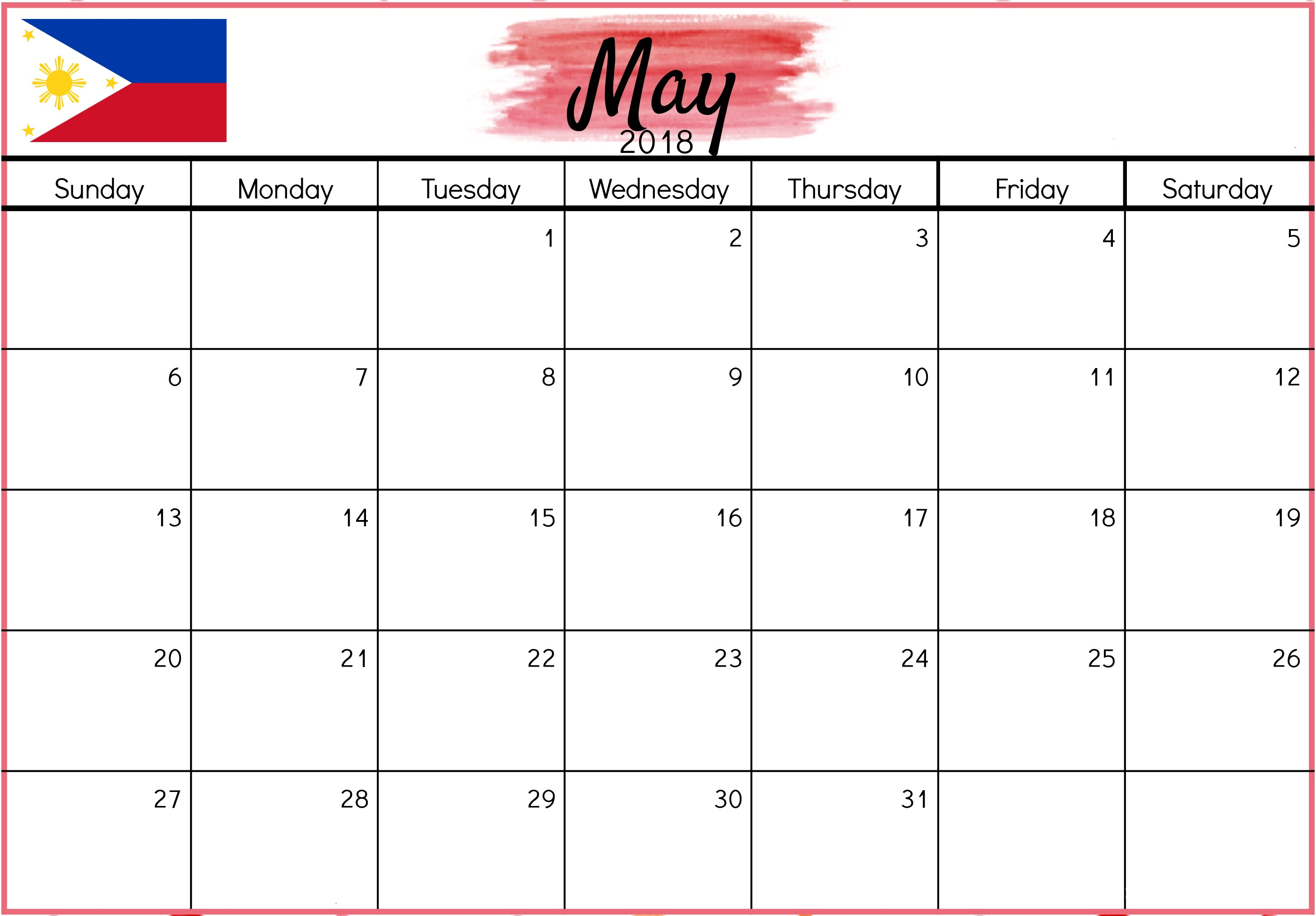 Monthly May 2018 Calendar Philippines