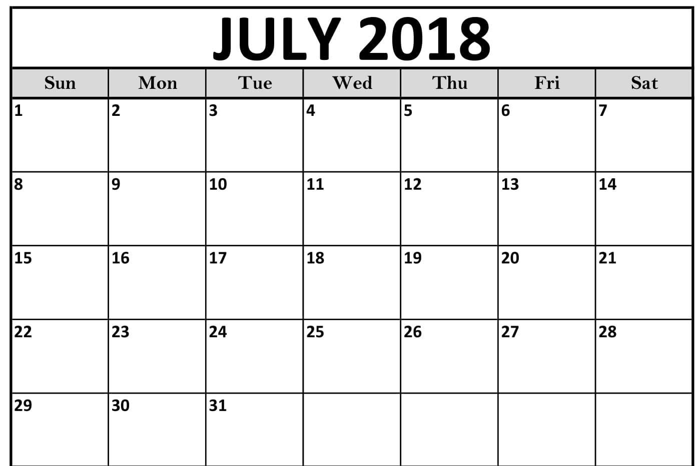 Online 2018 July Calendar Printable