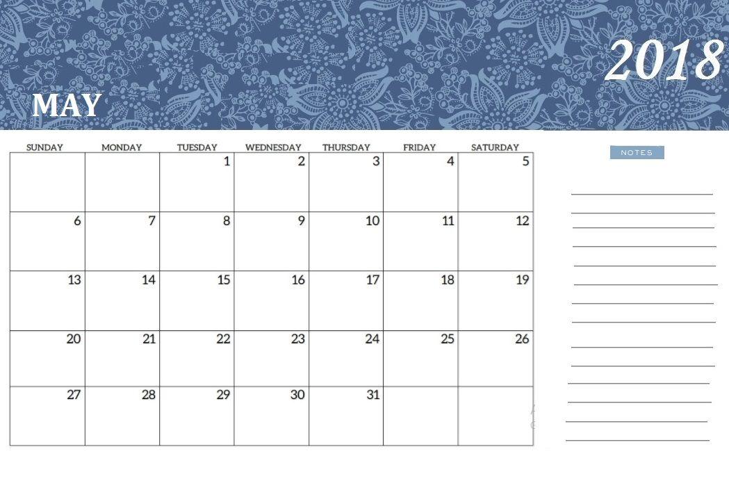 Online Cute May 2018 Calendar