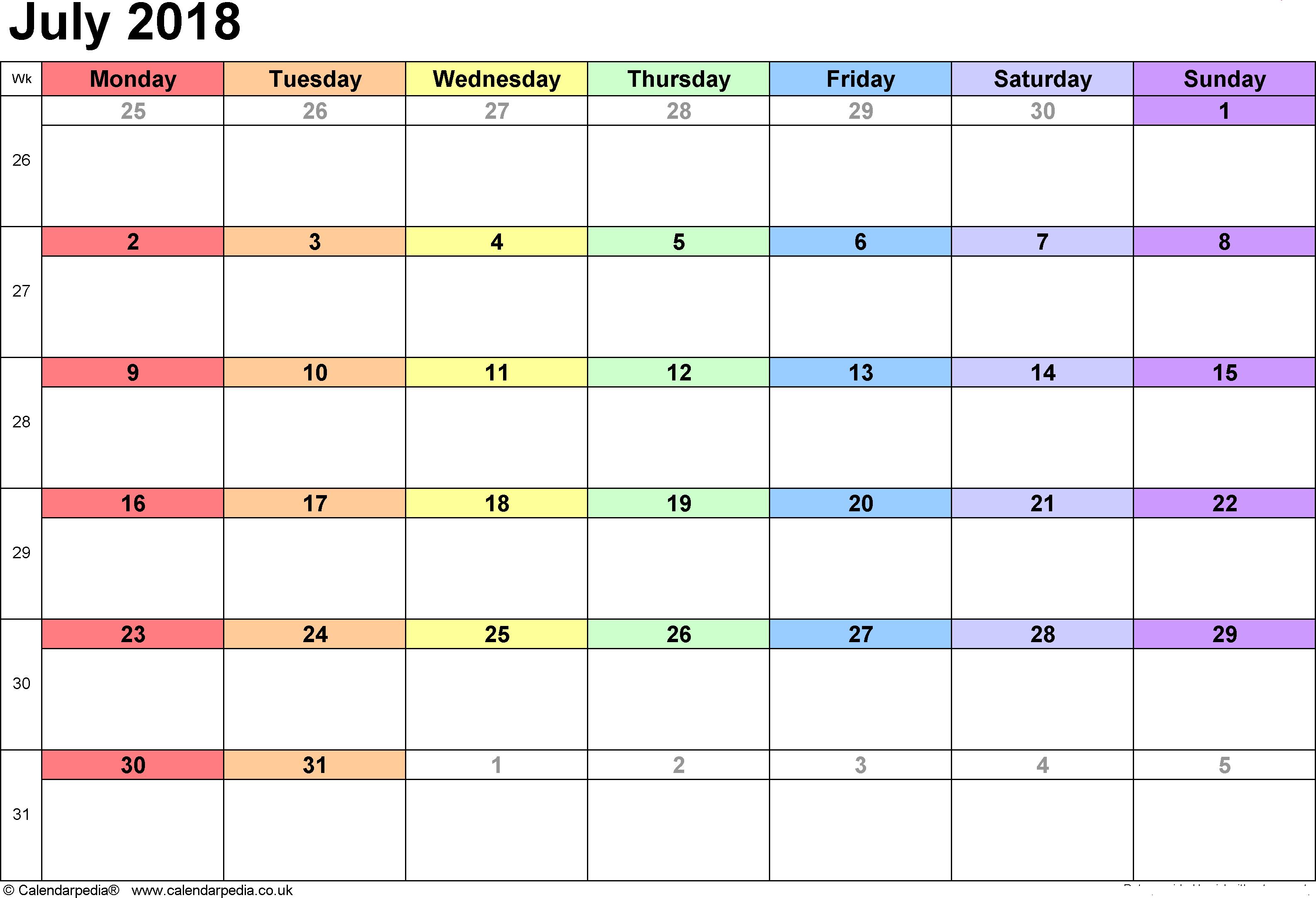 Online July 2018 Calendar