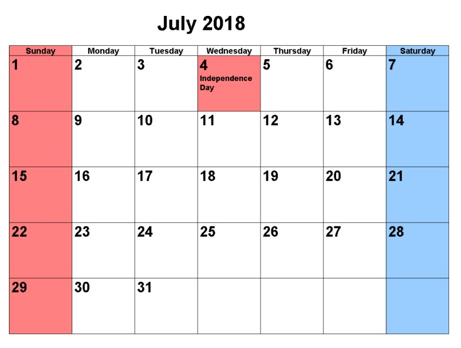 Online July Calendar 2018 Holidays