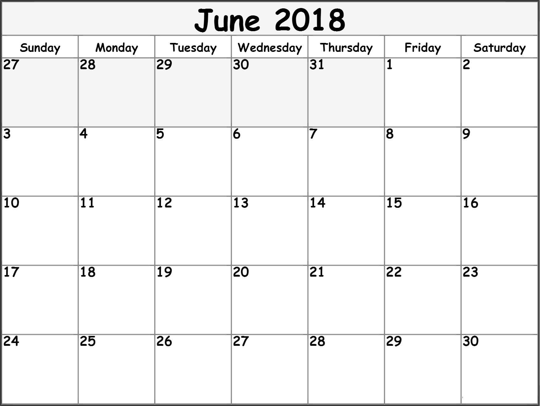 Online June 2018 Monthly Calendar