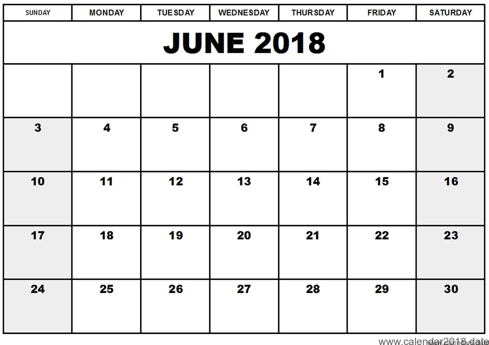 Online June 2018 Printable Calendar Document