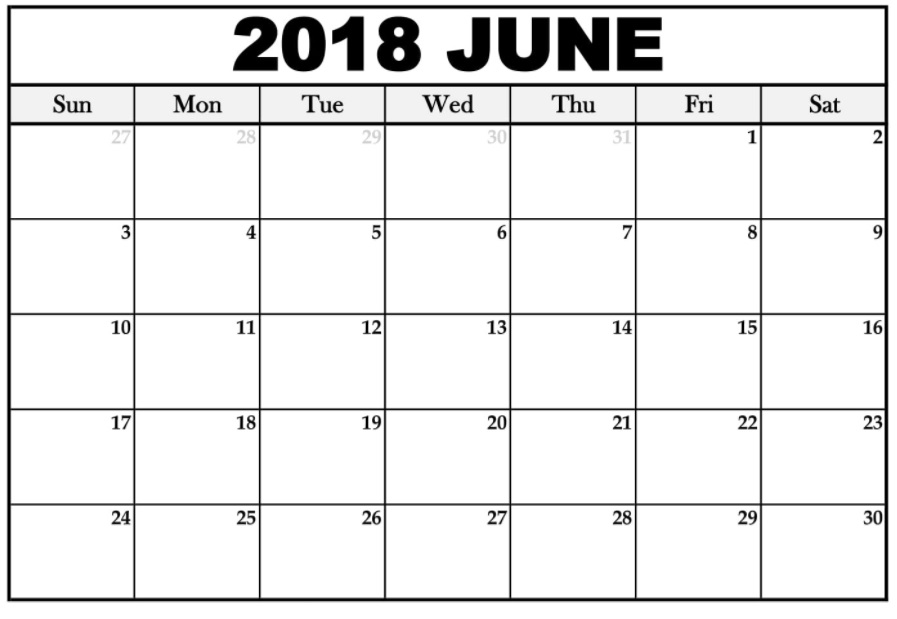Online June Printable 2018 Calendar