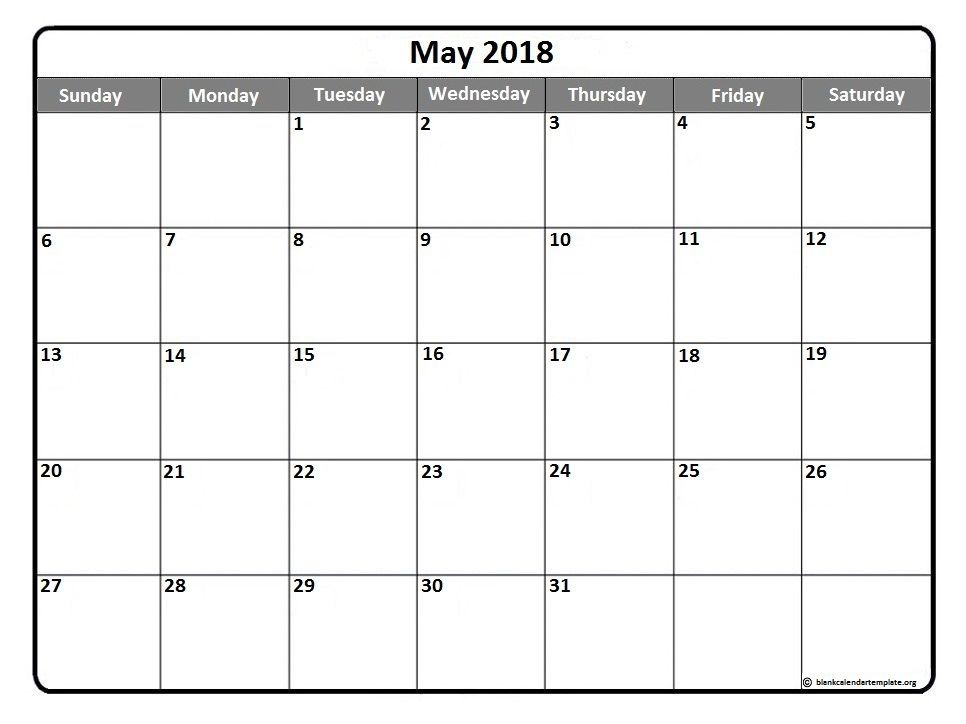 Online May 2018 Printable Calendar