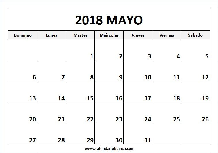 Para Imprimir Mayo 2018 Calendario