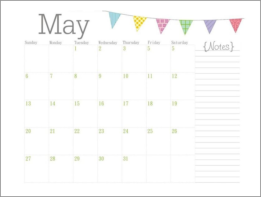 Personalized May 2018 calendar