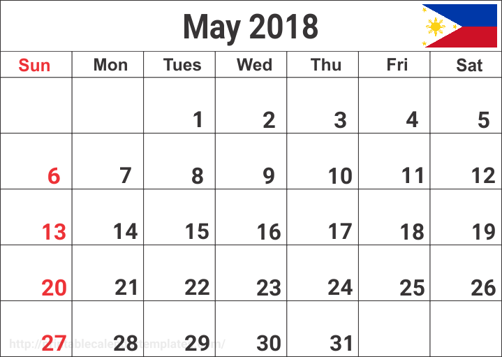 Philippines Calendar May 2018