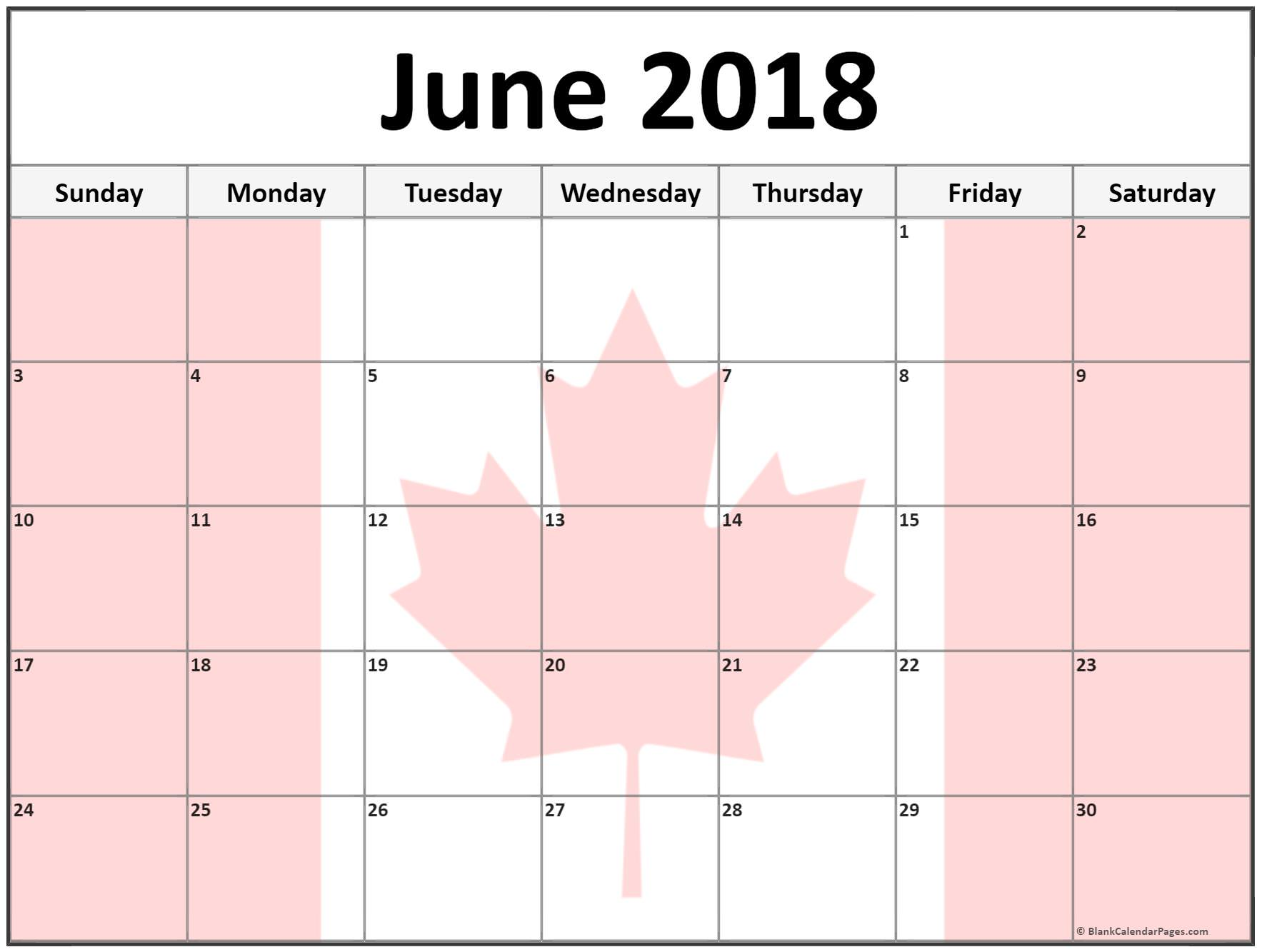 Pink June 2018 Canada Calendar