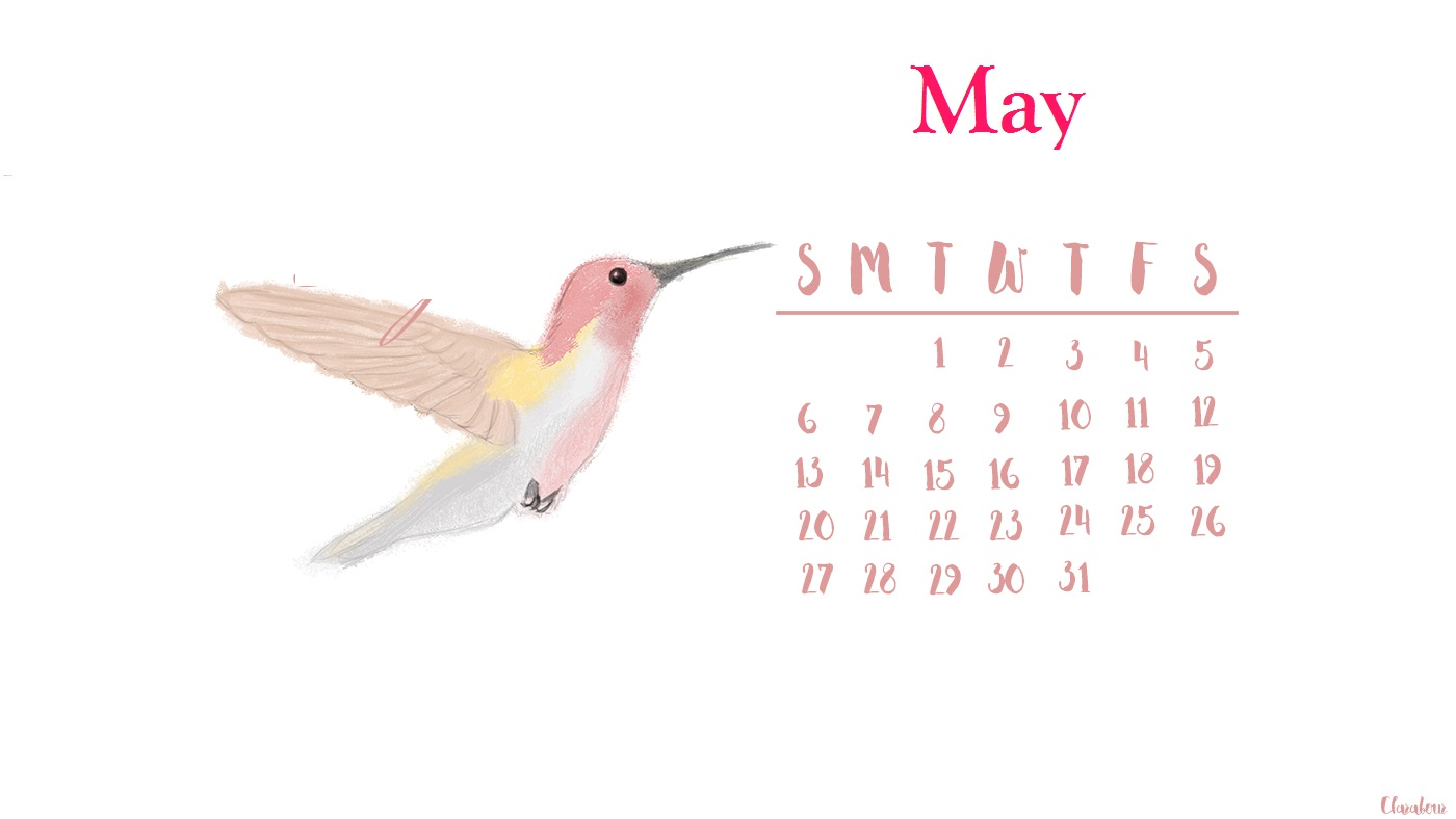 Pink May 2018 Cute HD Calendar Wallpaper