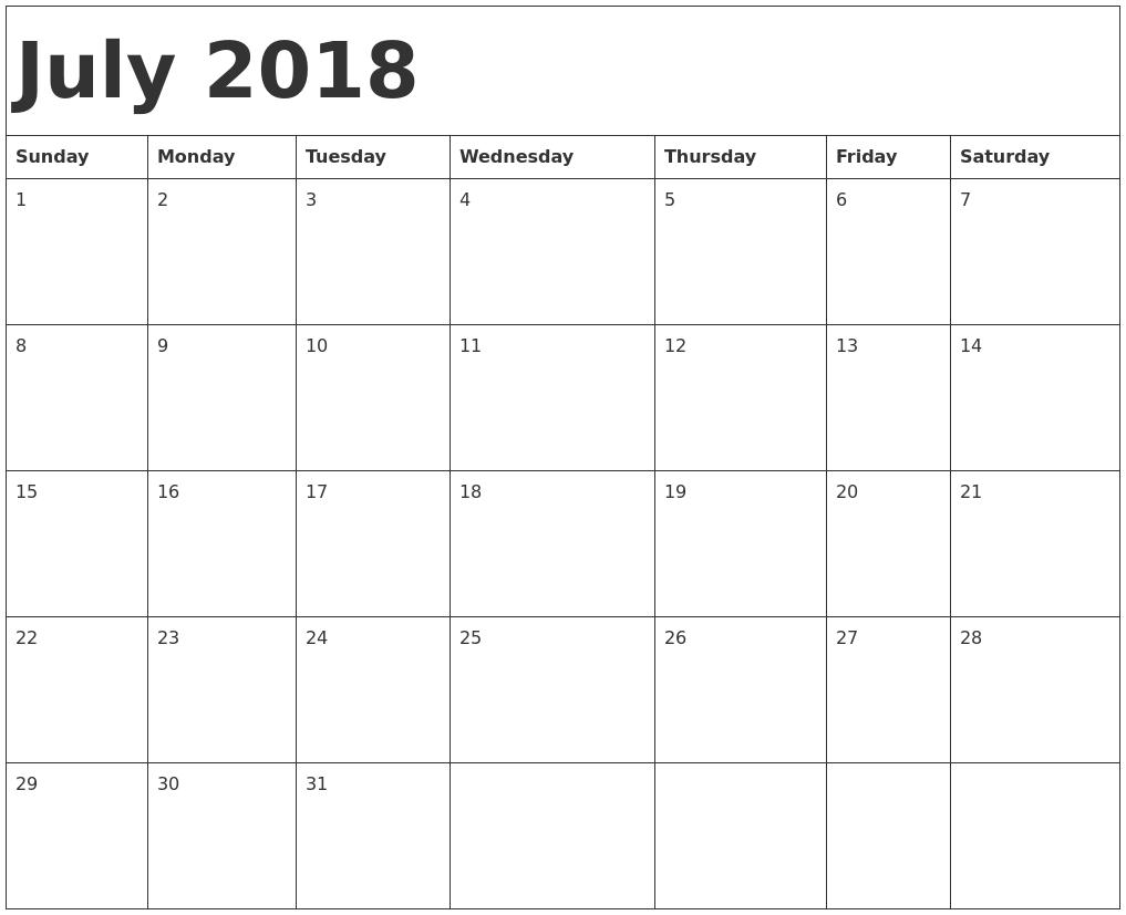 Print Blank Calendar July 2018