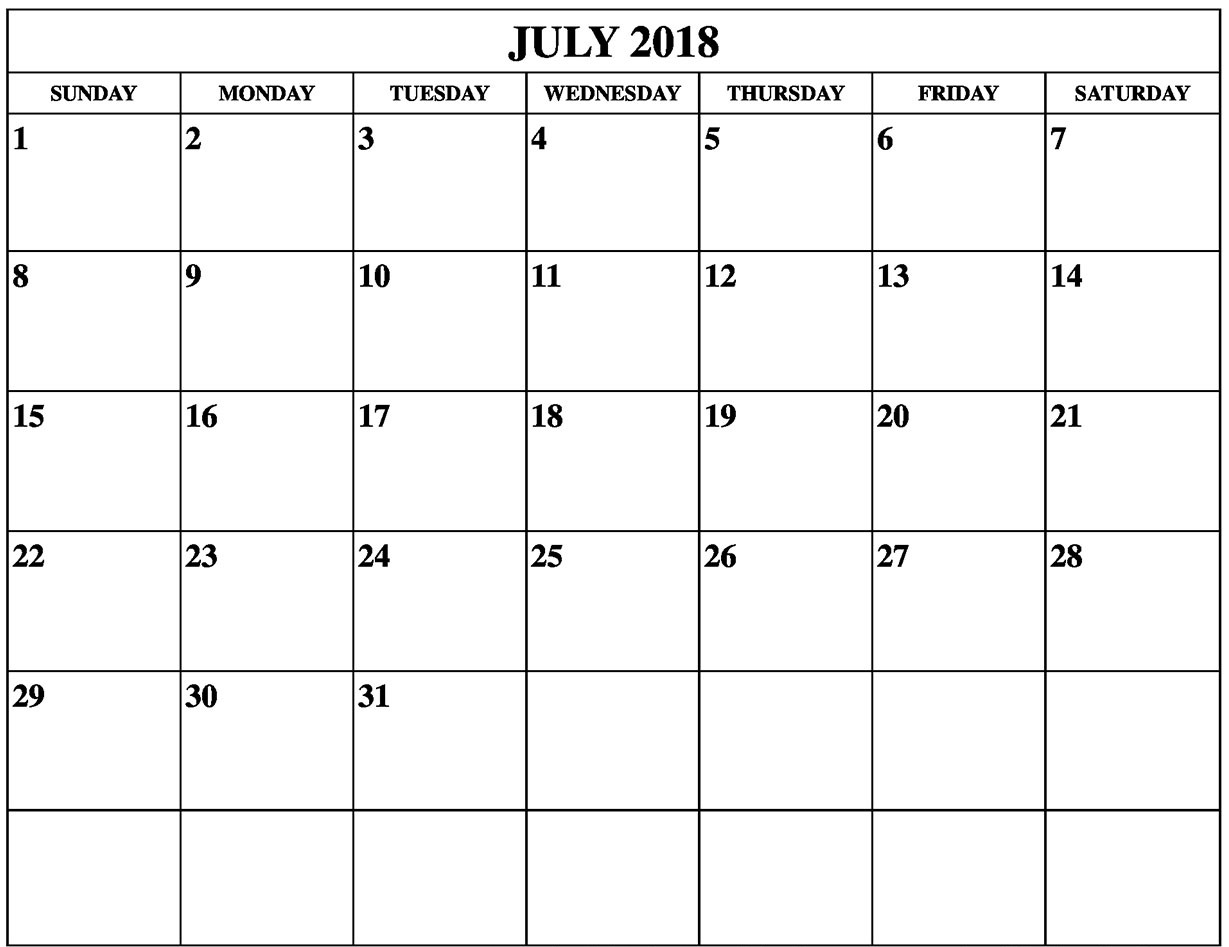 Print Calendar 2018 July Template
