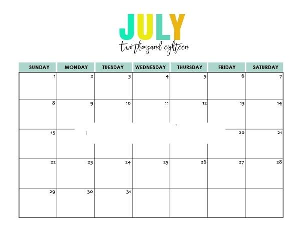 Print July Calendar 2018 Template