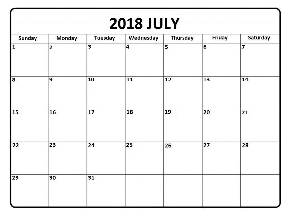 Print July Calendar 2018