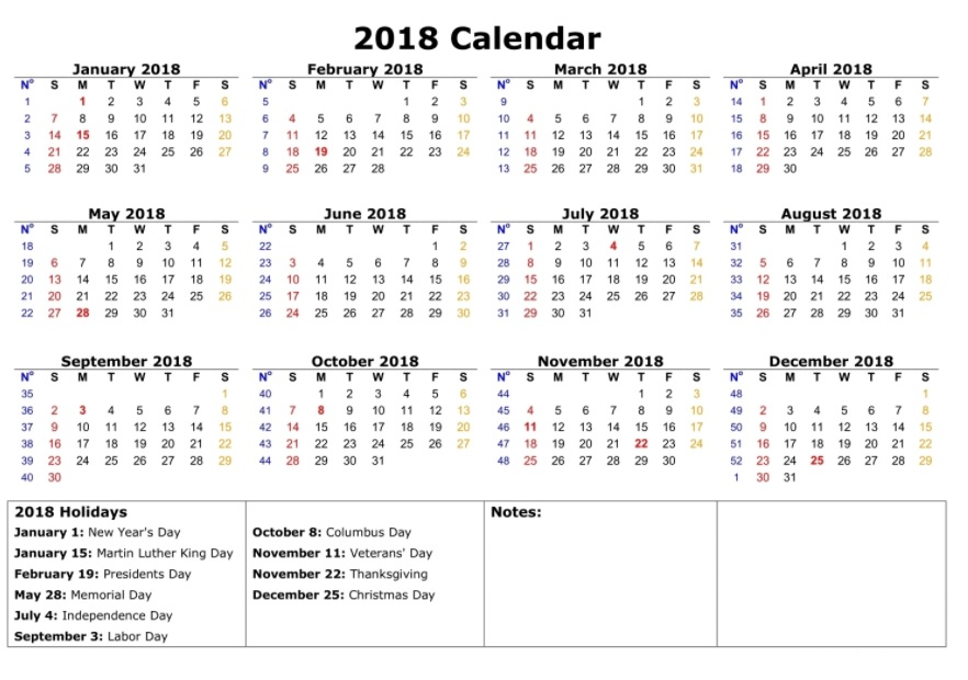Printable 2018 Calendar With Holiday List
